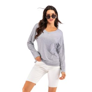 Solid Color V-neck Crossover Backless Long Sleeve Top Shirt (Color:Grey Size:S)