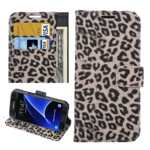 For Galaxy S7 / G930 Leopard Texture Horizontal Flip Leather Case with Holder & Card Slots & Wallet (Brown)