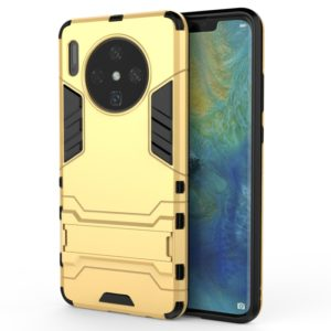 For Huawei Mate 30 PC + TPU Shockproof Protective Case with Holder(Gold)