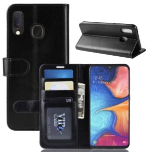 R64 Texture Single Fold Horizontal Flip Leather Case for Galaxy A20e, with Holder & Card Slots & Wallet (Black)