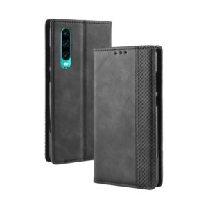 Magnetic Buckle Retro Crazy Horse Texture Horizontal Flip Leather Case for Huawei P30, with Holder & Card Slots & Photo Frame(Black)