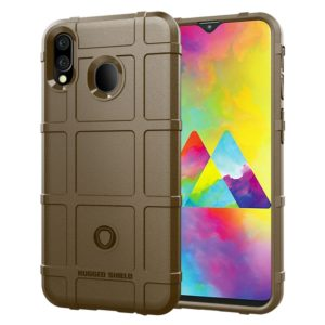 Shockproof Rugged Shield Full Coverage Protective Silicone Case for Galaxy M20 (Brown)