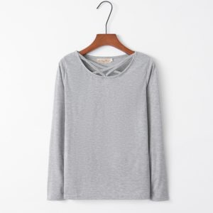 Cross Collar Long Sleeve Female T-shirt (Color:Grey Size:XL)
