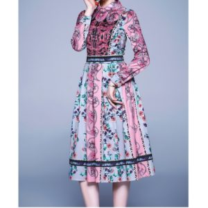 Elegant Retro Print Big Swing Dress (Color:As Show Size:M)