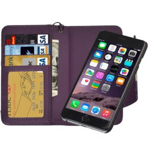 2 in 1 Separable Wallet Style Magnetic Flip PU Leather Case with Lanyard for iPhone 6 Plus & 6S Plus(Purple)