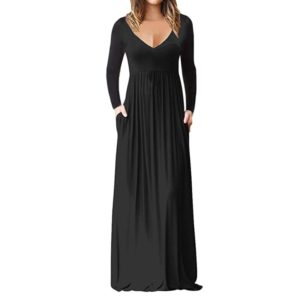 V-Neck Pocket Long-Sleeved Dress Mopping Skirts, Size: XL(Black)