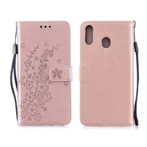 For Galaxy M20 Plum Flowers Pattern Horizontal Flip Leather Case with Holder & Card Slots & Wallet & Lanyard(Rose Gold)