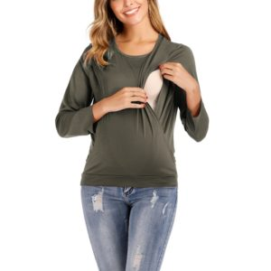 Round Neck Long Sleeve Nursing Maternity Long Sleeve Blouse (Color:Army Green Size:XXXL)