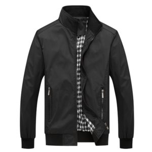 Men Solid Color Collage Long Sleeve Stand Collar Jacket (Color:Black Size:M)