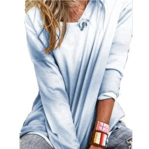 Women Loose Long-sleeved Shirt Gradient T-shirt (Color:Blue Size:S)
