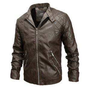 Autumn And Winter Fashion Tide Male Leather Jacket (Color:Coffee Size:XXL)