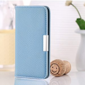 For Galaxy A20 / A30 Litchi Texture Horizontal Flip Leather Case with Holder & Card Slots(Blue)