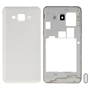 Full Housing Cover (Middle Frame Bezel + Battery Back Cover) + Home Button for Galaxy Grand Prime / G530 (Dual SIM Card Version)(White)