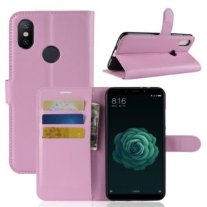 Litchi Texture Horizontal Flip Leather Case for Xiaomi Mi 6X / A2 , with Wallet & Holder & Card Slots(Pink)