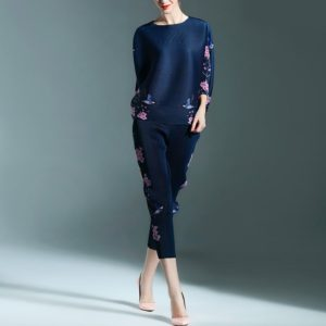 Temperament Retro Print Round Neck T-shirt Sleeve Loose Pant Suit(Color:Navy Blue Size:One Size)