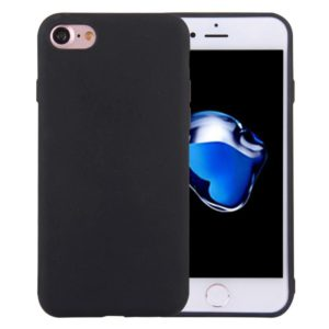 For iPhone 8 & 7 Solid Color TPU Protective Case Without Round Hole(Black)