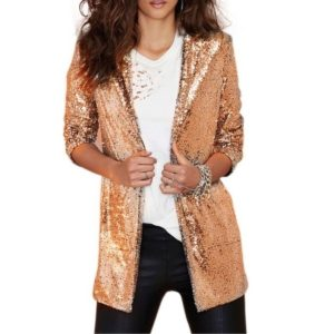 Women Sequined Suit Jacket Without Buckle Stage Clothing