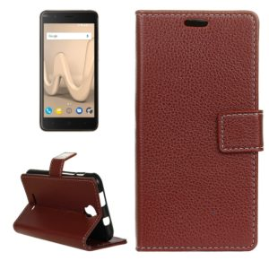 For Wiko Harry Litchi Texture Horizontal Flip Leather Case with Holder & Card Slots & Wallet & Photo Frame (Brown)