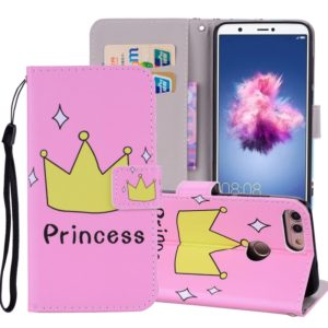 Crown Pattern Colored Drawing Horizontal Flip Leather Case for Huawei P Smart / Enjoy 7S, with Holder & Card Slots & Wallet & Lanyard