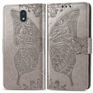 For LG K30 2019 Butterfly Love Flower Embossed Horizontal Flip Leather Case with Bracket Lanyard Card Slot Wallet(Gray)