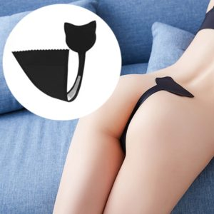 Woman Sexy Cute Cat C-String Briefs Invisible Underpants Ice Silk Racy Lingerie, Size: M(Black) (FunAdd)