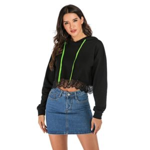 Lace Hooded Women Sweatershirt (Color:Black Size:S)