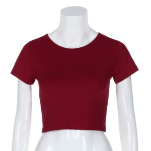 Round Neck Exposed Navel Shirt Body Short Sleeve T-shirt, Size: L(Wine Red)