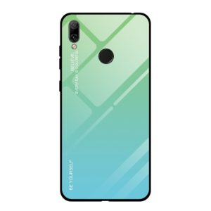 For Huawei Y7 (2019) / / Y7 Prime (2019) Gradient Color Glass Case(Sky Blue)