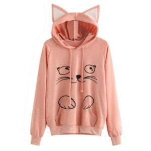 Solid Black Hooded Top Cute Cat Hoodie Warm Womens Sports Sweater, Size:M(Pink)
