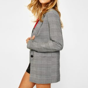 Women Casual Loose One-button Plaid Suit