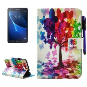 For Galaxy Tab A 7.0 (2016) / T280 Butterfly Tree Pattern Horizontal Flip Leather Case with Holder & Wallet & Card Slots & Sleep / Wake-up Function & Pen Slot