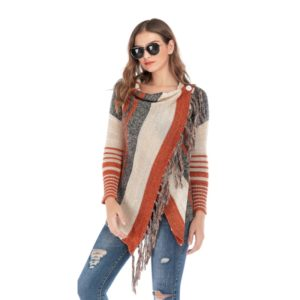 Long Section Slim Stylish Fringed Striped Jacket (Color:Brown Size:S)