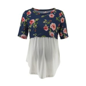 Short Sleeve Splicing Floral Print T-shirt Pregnant Nursing Clothes, Size:M(Navy Blue)