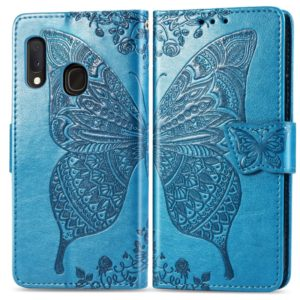 For Galaxy A20e Butterfly Love Flowers Embossing Horizontal Flip Leather Case with Holder & Card Slots & Wallet & Lanyard(Blue)