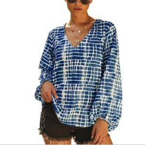 Casual Striped Long-sleeved Printing Long Sleeves (Color:Navy Blue Size:S)