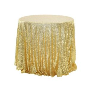 2 PCS Round Table Decoration Cloth Hotel Wedding Banquet Decoration Embroidered Sequin Tablecloth, Size:60cm(Golden)