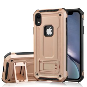 Shockproof PC + TPU Armor Protective Case for iPhone XR, with Holder(Rose Gold)