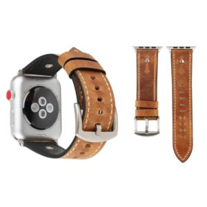 Crowe Star Embossing Texture Genuine Leather Wrist Watch Band for Apple Watch Series 3 & 2 & 1 38mm(Light Brown)