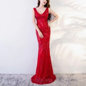 2 PCS Mermaid Evening Gown Party Occasion Formal Long Prom Dresses, Size:XXL(Red)