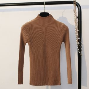 Autumn and Winter Half-high Collar Slim Solid Color Sweater, Size: One Size( Brown )