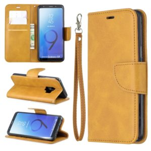 Retro Lambskin Texture Pure Color Horizontal Flip PU Leather Case for Galaxy S9, with Holder & Card Slots & Wallet & Lanyard(Yellow)