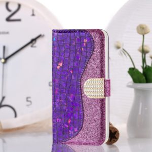 Laser Glitter Powder Matching Crocodile Texture Horizontal Flip Leather Case for Galaxy J6 (2018), with Card Slots & Holder