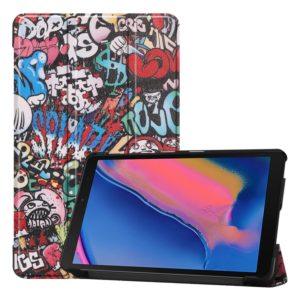 Custer Texture Graffiti Pattern Colored Drawing Horizontal Flip Leather Case for Galaxy Tab A 8.0 (2019) P205 / P200, with Three-folding Holder