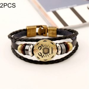 2 PCS Couple Lovers Jewelry Leather Braided Cancer Constellation Detail Hand Chain Bracelet, Size: 21*1.2cm