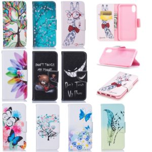 Colored Drawing Pattern Horizontal Flip Leather Case for iPhone X&Xs,with Holder & Card Slots & Wallet(Feather Bird)