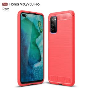 For Huawei Honor V30 / V30 Pro Brushed Texture Carbon Fiber TPU Case(Red)