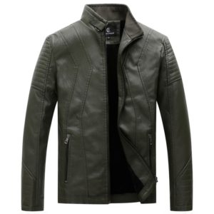 Men Casual Non-iron Stand Collar PU Leather Jacket (Color:Army Green Size:XXL)