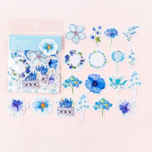 Journal Decoracion Cute Diary Flower Stickers Scrapbooking Flakes (Blue)