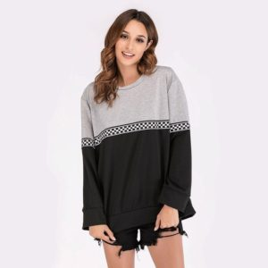 Round Neck Long Sleeve Colorblock Plaid Web Sweatshirt (Color:Dark Gray Size:XXL)