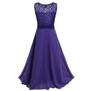 Long Lace Chiffon Tube Top Princess Dress Children s Dress Piano Costume, Size:11/140cm(Dark Purple)